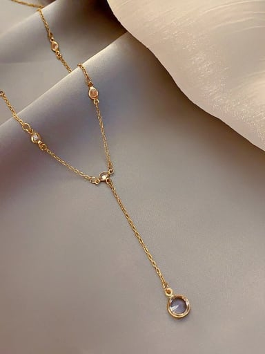 Zinc Alloy Crystal White Locket Classic Lariat Necklace