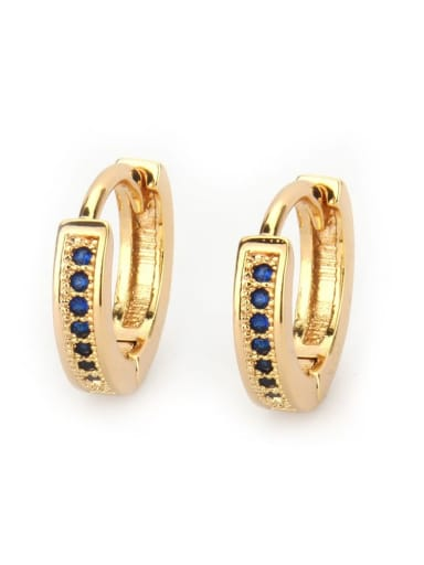 Gold Plated Blue Zircon Brass Cubic Zirconia Geometric Vintage Huggie Earring