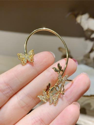 Gold left Alloy Rhinestone Butterfly Bohemia Single Earring