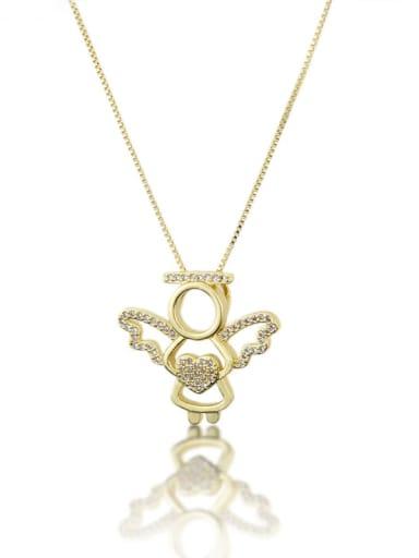 Brass Cubic Zirconia Angel Cute Necklace