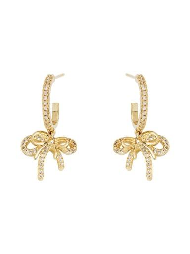 Copper Cubic Zirconia Bowknot Cute Stud Earring
