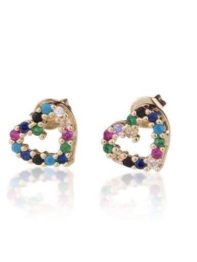 Brass Cubic Zirconia Heart Dainty Stud Earring