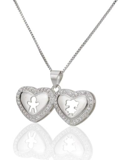 silvery Brass Rhinestone Heart Minimalist Necklace
