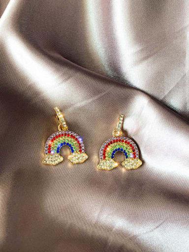 Mixed Metal Rhinestone Multi Color Cloud Cute Huggie Earring
