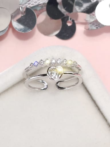 Silve Alloy+ Cubic Zirconia White Heart Trend Stackable Ring/Free Size Ring