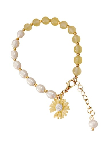 Alloy Imitation Pearl Flower Ethnic Adjustable Bracelet