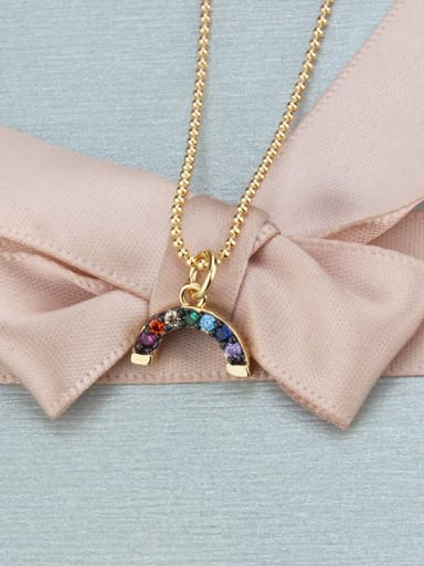 Brass Cubic Zirconia Multi Color Moon Minimalist Necklace