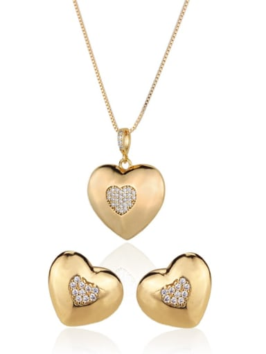 Brass Heart Cubic Zirconia Earring and Necklace Set