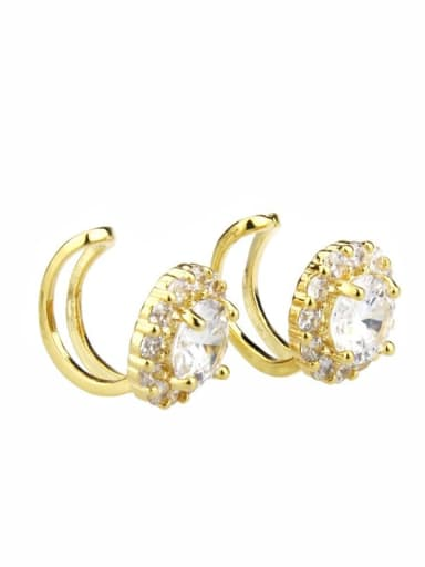 gold-plated Brass  Round Cubic Zirconia  Dainty Clip Earring
