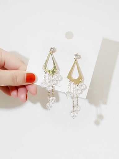 14K gold Copper Crystal triangle Tassel Dainty Stud Earring