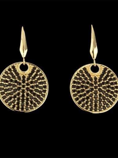 Monologue black Brass Cubic Zirconia Round Dainty Hook Earring
