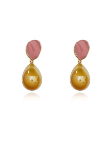 Copper Imitation Pearl Water Drop Minimalist Drop Earring