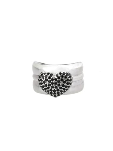 Platinum Plated Black zirconium Brass Cubic Zirconia Heart Luxury Band Ring
