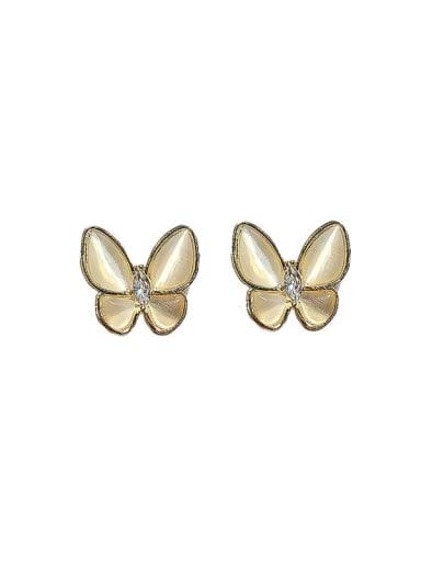 Alloy Cats Eye Butterfly Minimalist Stud Earring