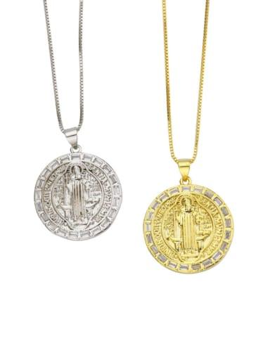 Brass Cubic Zirconia Round Minimalist Initials Necklace
