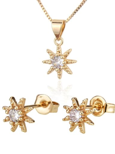 Brass Cubic Zirconia Cute Star  Earring and Necklace Set