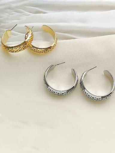 Copper Round Minimalist Hoop Earring