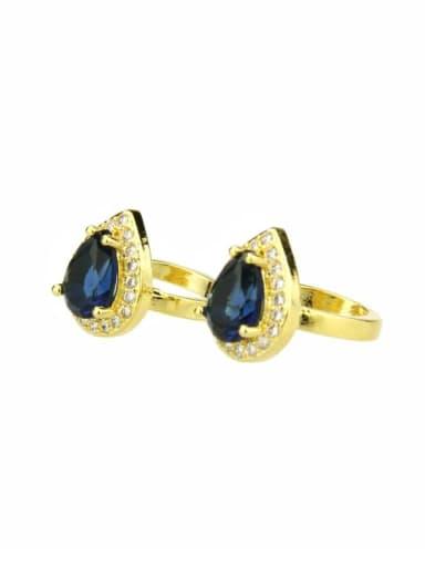 Brass Water Drop Cubic Zirconia  Luxury Clip Earring