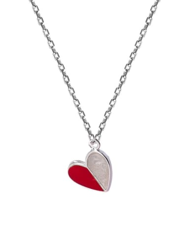 red Zinc Alloy Pink Enamel Heart Classic Necklace