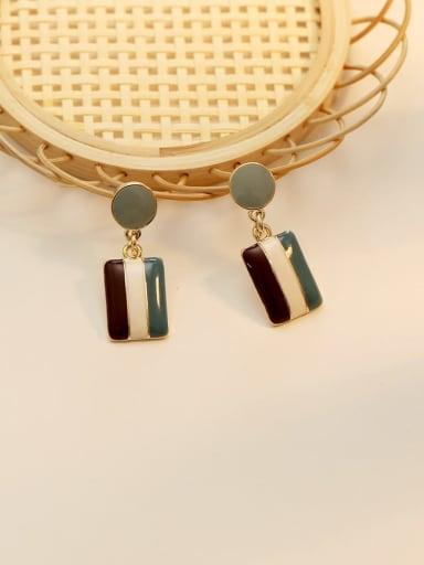 wathet Copper Enamel Geometric Vintage Drop Earring