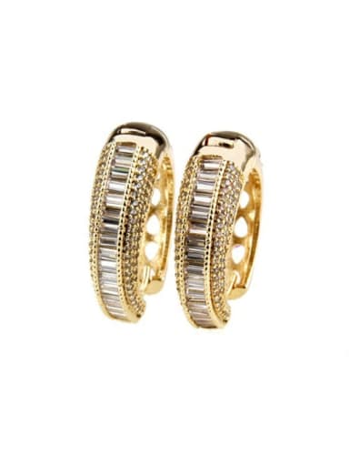 gold-plated Brass Cubic Zirconia Round Luxury Hoop Earring