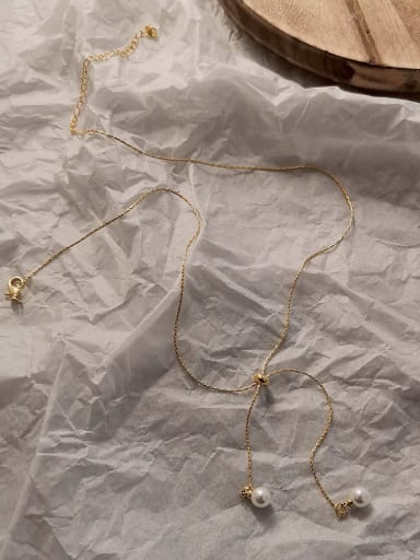 Copper Alloy with Imitation Pearl White Trend Necklace