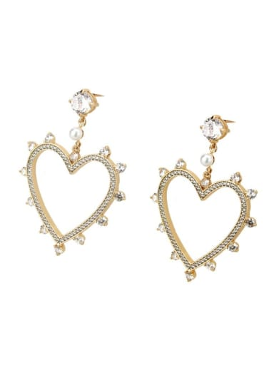 Gold plated white zirconium Brass Rhinestone Heart Minimalist Drop Earring