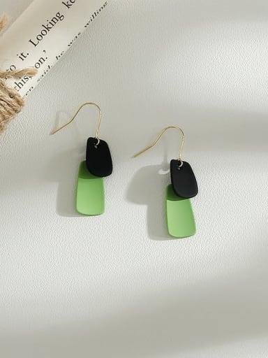 Avocado Green Copper Enamel Geometric Minimalist Hook Earring