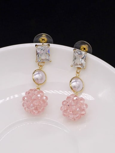 Pink Crystal Copper Cubic Zirconia Ball Cute Stud Earring