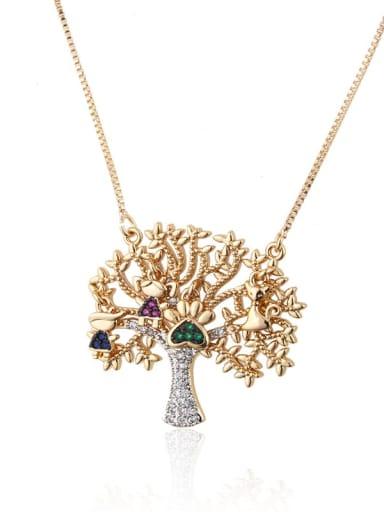 Gold plated color zirconium Brass Cubic Zirconia Tree Trend Necklace