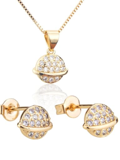 Brass Ball  Cubic Zirconia Earring and Necklace Set