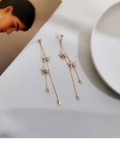 14K gold Copper Cubic Zirconia Tassel Ethnic Threader Earring