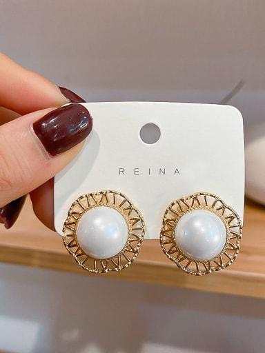 Mixed Metal Imitation Pearl White Geometric Trend Stud Earring