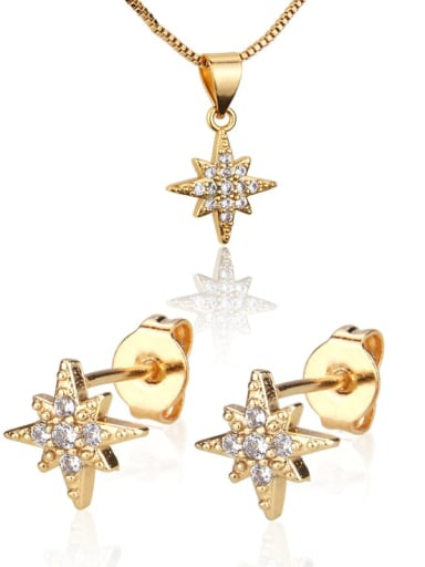 Brass Cubic Zirconia  Dainty StarEarring and Necklace Set