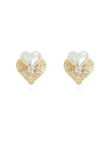 Copper Freshwater Pearl Heart Minimalist Stud Earring