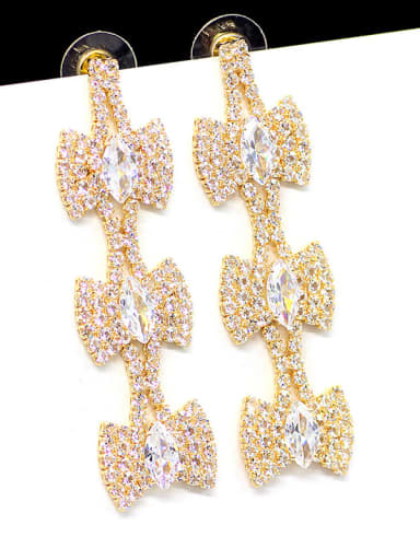 18K gold Copper  Cubic Zirconia Tassel Statement Cluster Earring