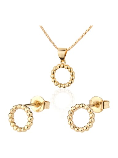 Brass Round Earring and Necklace Set
