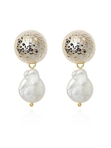 Copper Freshwater Pearl Geometric Vintage Drop Earring
