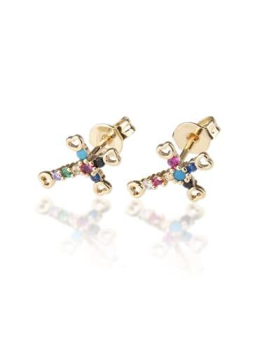 Gold plated color zirconium Brass  Cross Cubic Zirconia  Minimalist Stud Earring
