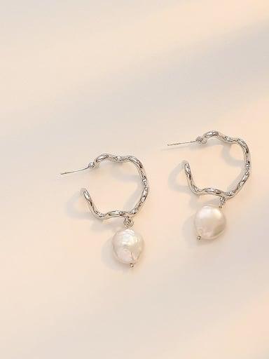 White K Copper Freshwater Pearl Geometric Minimalist Drop Earring