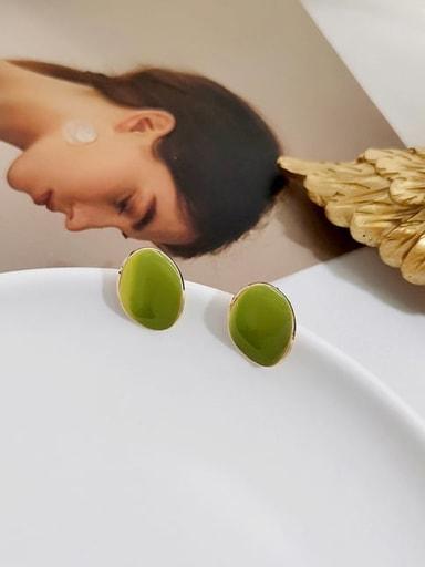 14K  gold butter green Copper Enamel Geometric Minimalist Stud Earring