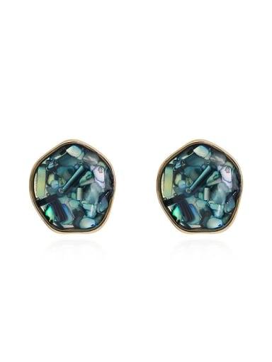 Copper Opal Geometric Dainty Stud Earring