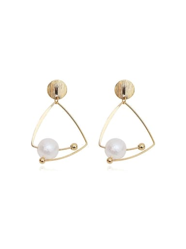 14K  gold Copper Imitation Pearl Triangle Minimalist Drop Earring