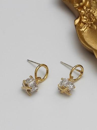 14K  gold  white Copper Cubic Zirconia Geometric Dainty Drop Earring