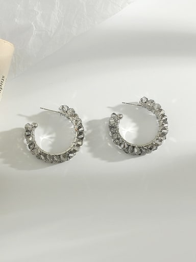 White K grey crystal Copper Crystal  Cute Exaggerated circle hollow  Stud Earring