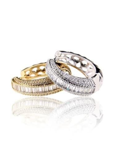Brass Cubic Zirconia Round Luxury Hoop Earring
