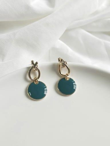 14K  gold peacock blue Copper Enamel Round Minimalist Drop Earring