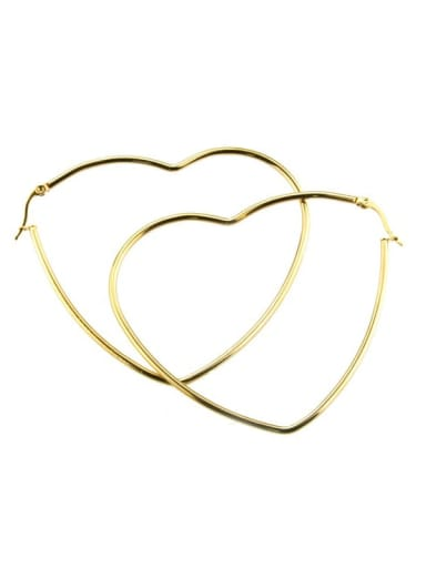gold-plated Stainless steel Heart Minimalist Hoop Earring