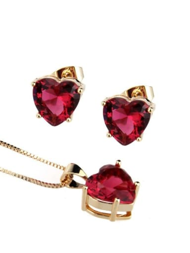 Gold Plated Red Brass Cubic Zirconia Dainty Heart  Earring and Necklace Set