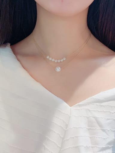 Zinc Alloy Imitation Pearl White Locket Classic Multi Strand Necklace